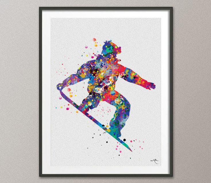 Snowboard Watercolor Print Snowboarder winter sport Art