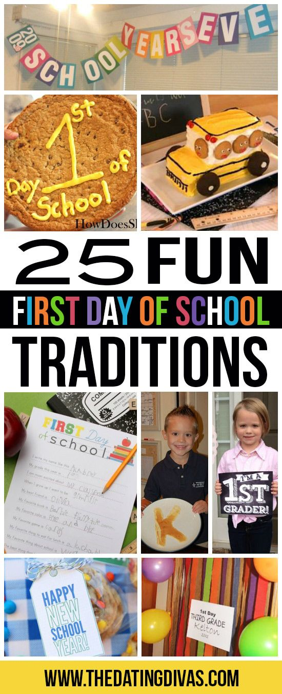 25 FUN traditions and ideas to make the first day of school extra special. www.TheDatingDivas.com
