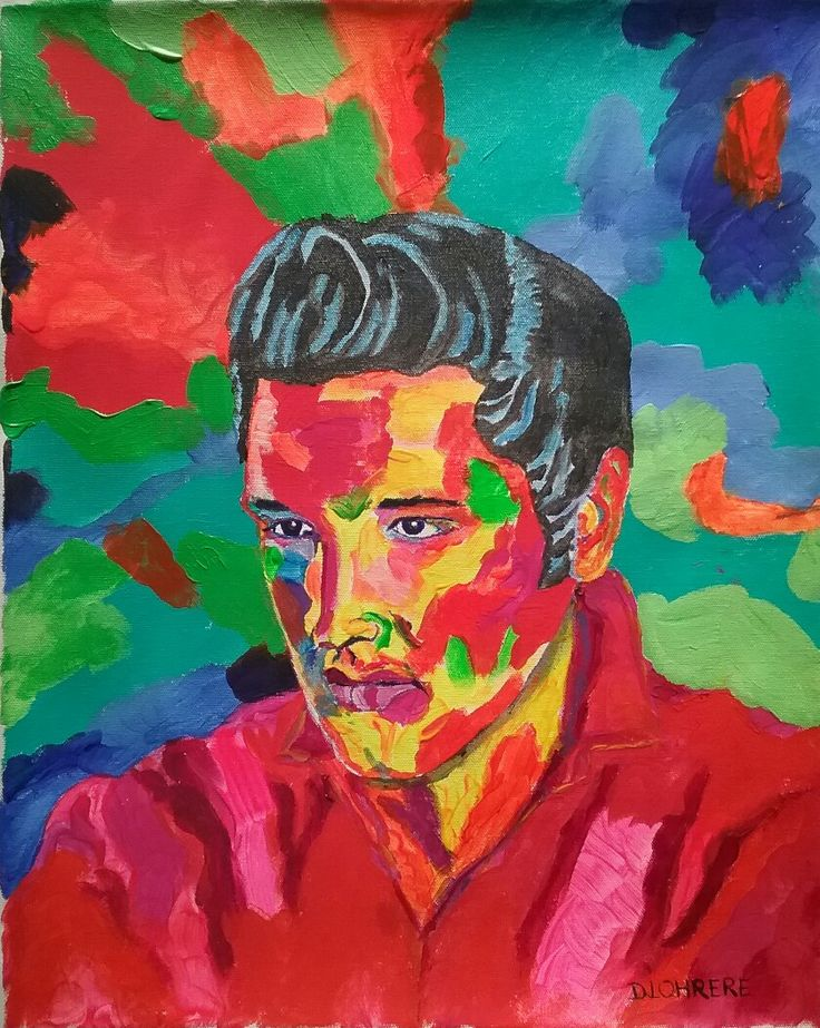 My portrait of Elvis Presley is 16 x 20 inches on stretched canvas.