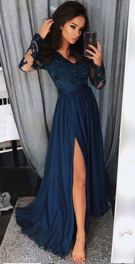 Satin Long Sleeves party dress A-line Long sleeves Prom Dresses long Evening Dresses