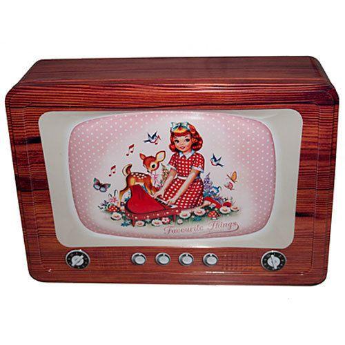 Boite métal Vintage en forme de TV Wu and Wu