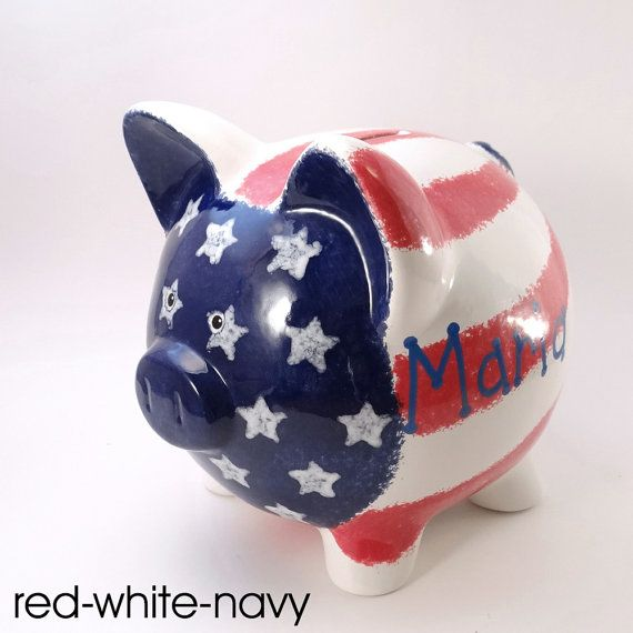 American Piggy Bank  Personalized Piggy Bank  Flag by ThePigPen