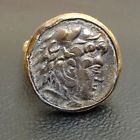 For Sale - Hammered Handmade Band Soldier Roman Coin Ring 22K Gold over Sterling Silver