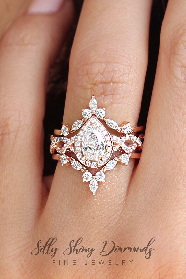 Engagement Ring Pear Ring Set Art Deco Ring Nesting Ring Set Vintage Engagement Ring Set Affordable Engagement Ring Tear Drop Ring