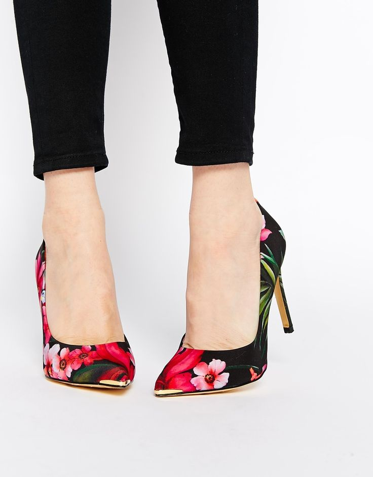 Image 1 of Ted Baker Neevo 3 Floral Print Pointed Heeled Court Shoes