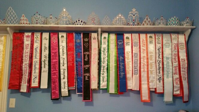 Pageant Crown And Sash Shelf Pageant Sashes Toddler