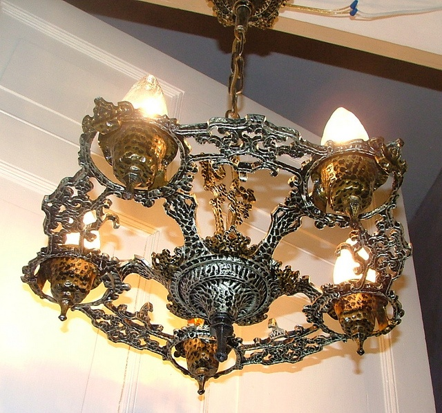 Vintage antique light art deco craftsman hanging ceiling fixture by anns vintage antique lights via