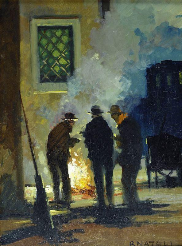 Spazzini (intorno al fuoco) / Scavengers (around the fire), 1950, Renato Natali. Italian (1883 - 1979) - Oil on Wood -