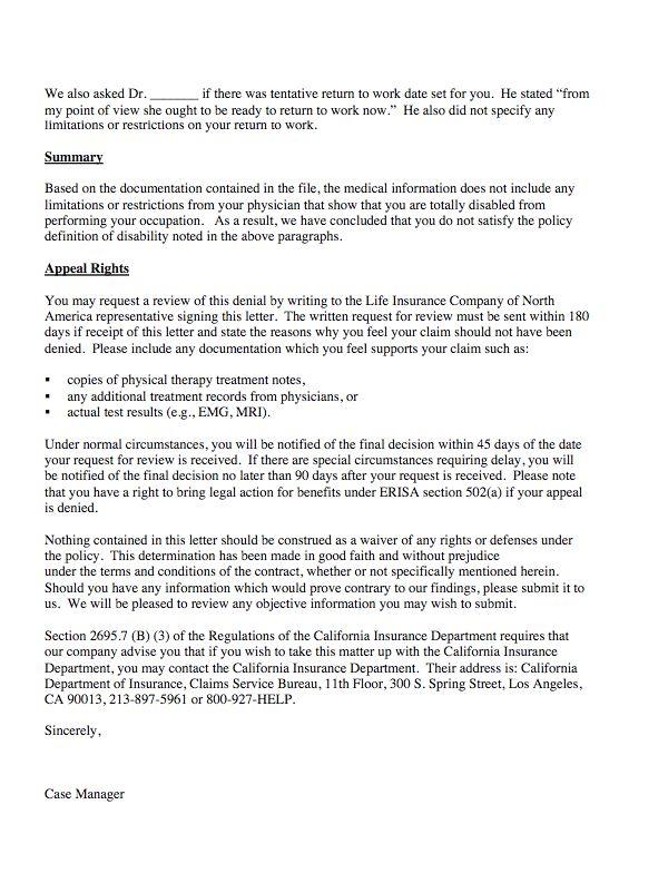 Sample Ltd Claim Denial Letter