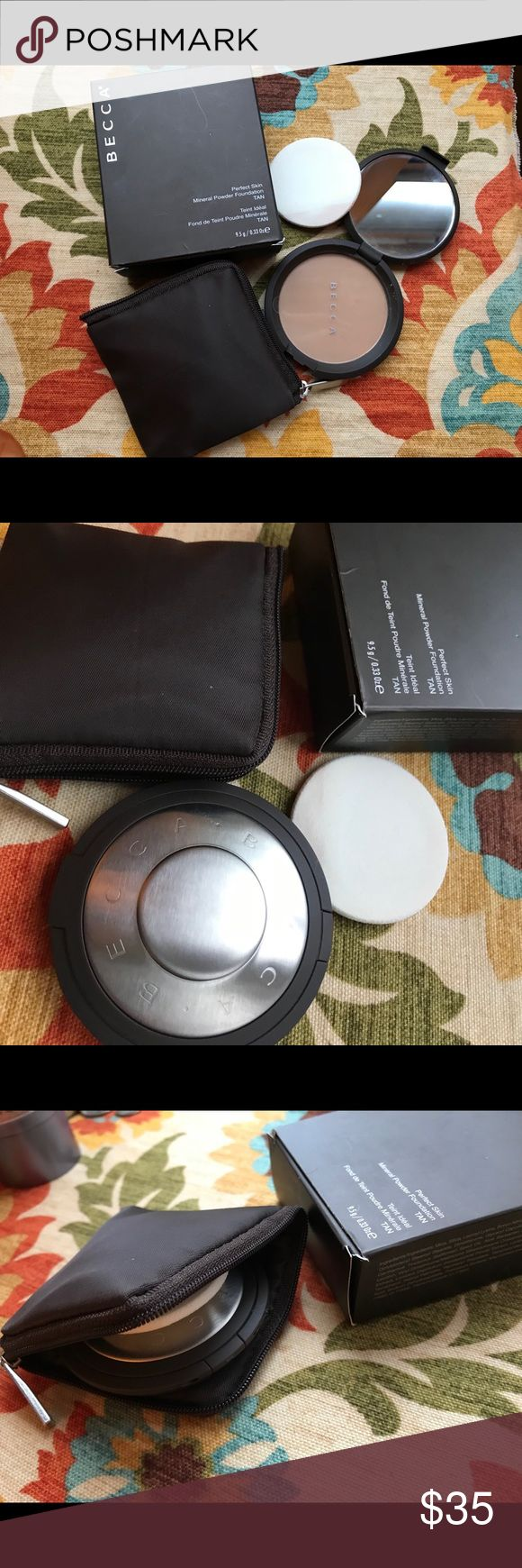 BECCA Perfect Skin Mineral Powder Foundation TAN Brand New In Box  Color- TAN  Pure mineral pigments are pressed into this silky powder to deliver buildable coverage that feels light, looks fresh all day, and leaves skin with a soft, luminous finish. This water-resistant formula, enriched with antioxidant vitamins A, B, C, and E for antiaging benefits, lasts all day. BECCA Makeup Foundation