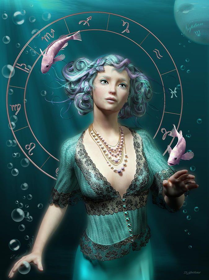 Pisces Zodiac Circle Digital Art  - Pisces Zodiac Circle Fine Art Print by Britta Glodde
