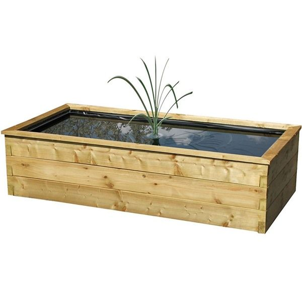 Zest 4 Leisure Large Rectangular Raised Wooden Pond With Liner