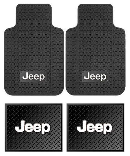 jeep logo car truck suv front rear seat rubber floor mats 4pc jeep jeep parts. Black Bedroom Furniture Sets. Home Design Ideas