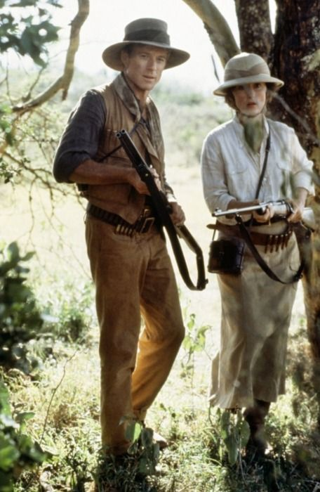 Out of Africa -- Robert Redford and Meryl Streep -- About to be attacked by lions.  I COVET the boots she wears while on safari...