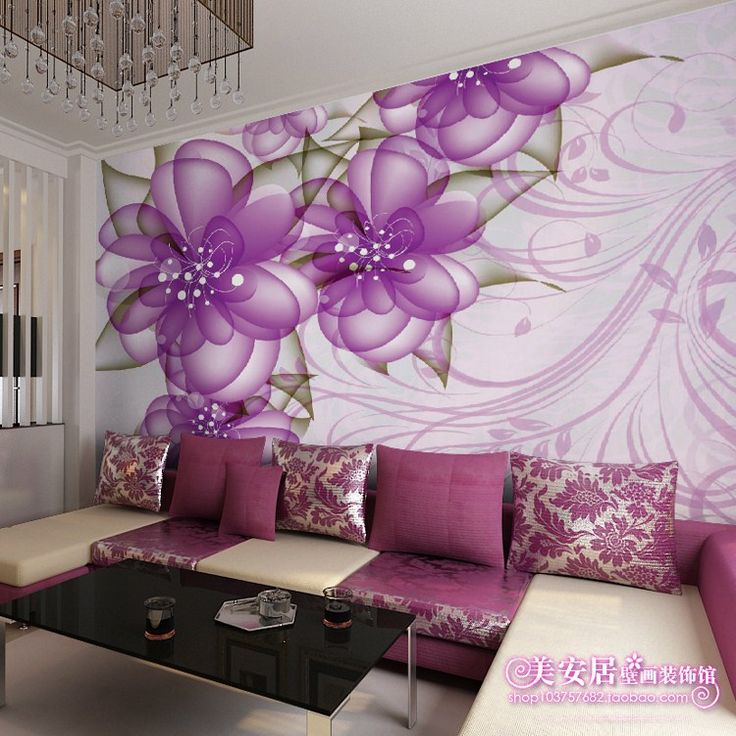 Purple living room wall murals mural living room sofa for Purple living room wallpaper