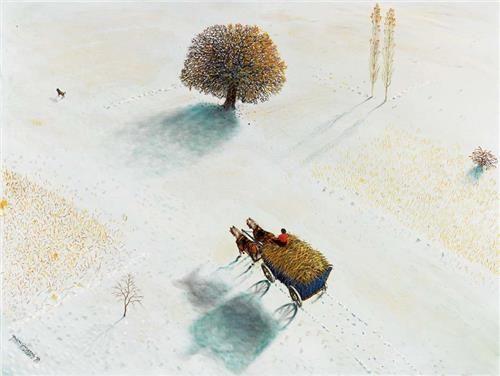 Yalçın Gökçebağ Anadolu'da Kış 60.00 x 80.00 cm. 1993 Tual üzerine yağlıboya
