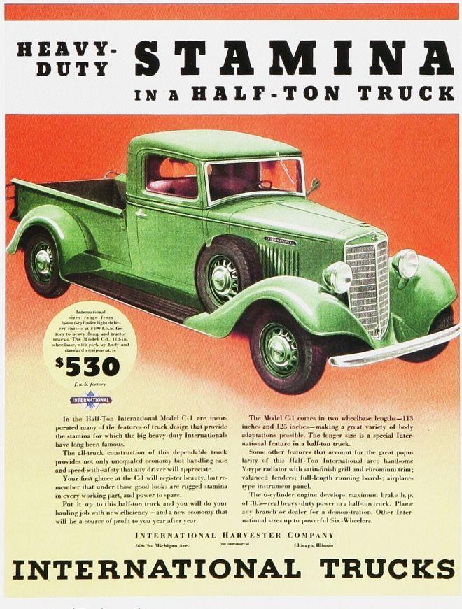Half Ton Truck >> 1930s International Trucks Advertisement.   International ...