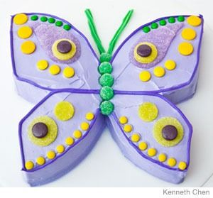 Butterfly Birthday Cake Design    How to make a butterfly birthday cake with gumdrops. Easy, step-by-step recipe, diagrams and pictures.  31 Incredible Birthday Cake Designs, Step-by-step recipes, designs and color pics of the easiest (and cutest) birthday cakes for boys and girls.