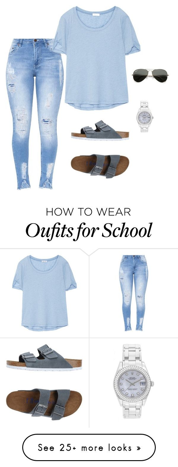 Back to School look  by smhowie on Polyvore featuring Splendid, Birkenstock, Ray-Ban and Rolex