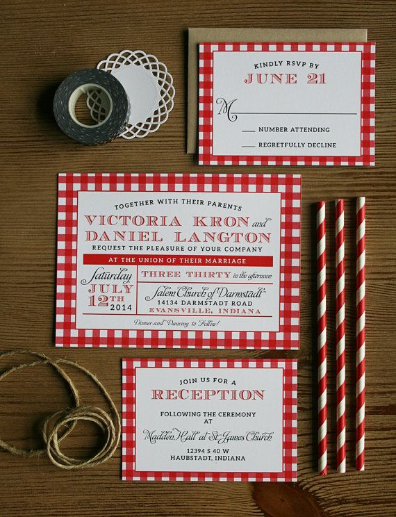 Country Picnic Wedding Rustic Invitation Red Checkered Cloth