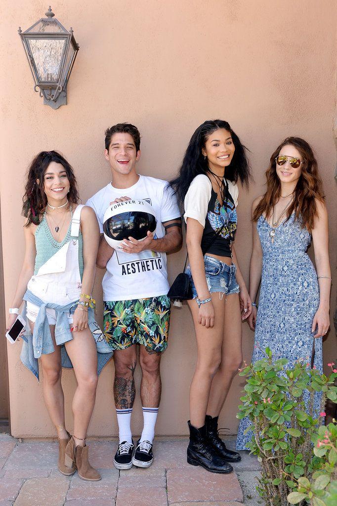 Vanessa Hudgens, Tyler Posey, Chanel Iman, Troian Bellisario rocking out at Coachella Weekend 1.