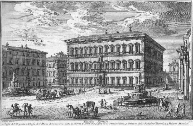 Palazzo Farnese Print by Giuseppe Vasi. Very good site for Palazzo Farnese information and images