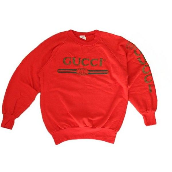 7dad4e51c3b Vintage 80 s 90 s Deadstock Original Bootleg GUCCI Sweatshirt ( 165) ❤  liked on Polyvore featuring tops