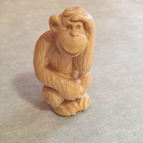 Wooden Hand Carved Monkey by karinaartgallery on Etsy