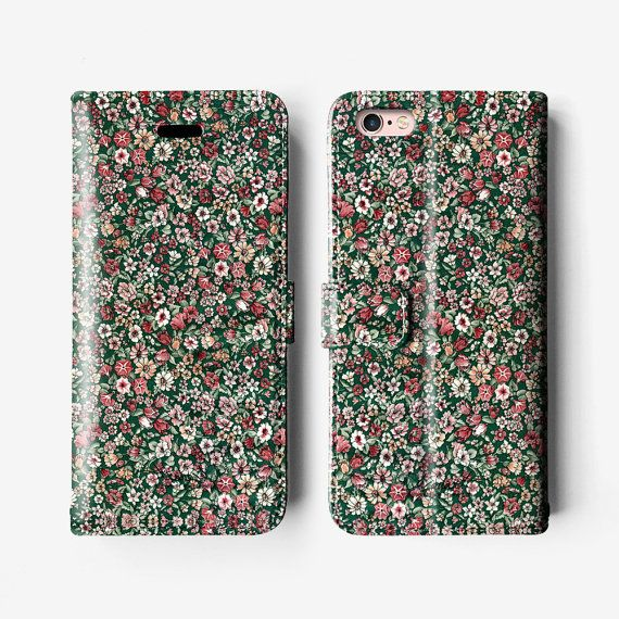 Etui portefeuille iPhone floral 7, étui folio iPhone 6, iPhone 6 plus étui en cuir, iPhone 6 s Plus cas, vintage B014 rose vert