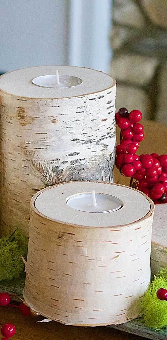 Create beautiful, rustic DIY wooden candle holders from materials like birch from your backyard. Grab your pruner, and lopper to create this fun winter project perfect for Christmas time. #candles #rustic #diy #centerpieces