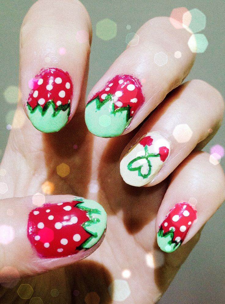 Strawberry and cherry nail art ;)