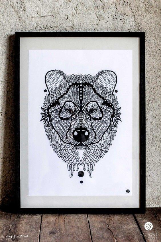 Grafika Zwierzu z Polski - Niedźwiedź - Malinowe Cacko -