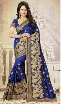 Blue Color Silk Embroidery Party Saree | FH586486354 Sale up to 19% off end in 31 July Hurry Follow us @Heenastyle