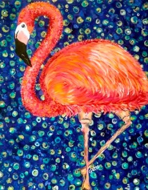 More flamingo art