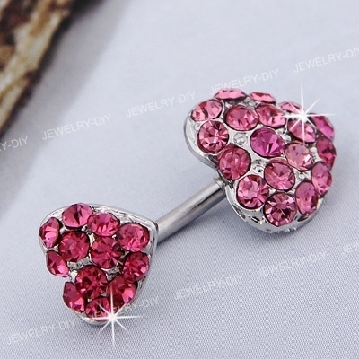 Stainless Steel Heart Belly Navel Belly Bar Ring Pink Hot | eBay