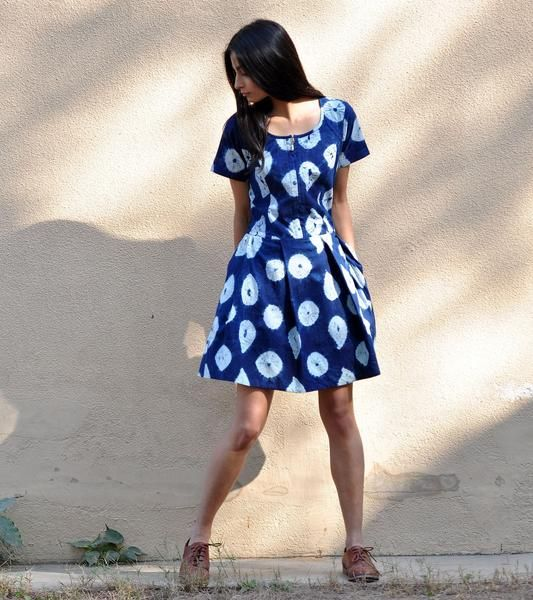 Crafted in shibori cotton fabric that is dyed in the natural color of indigo, this dress is fun and stylist and a must have in your summer wardrobe. The design