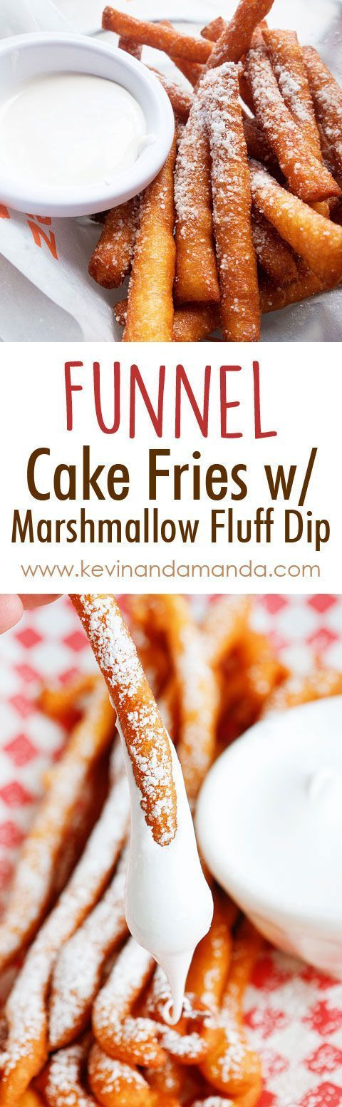 OMG these are Funnel Cake FRIES with Marshmallow Fluff Dip!! So fun!! Super easy…