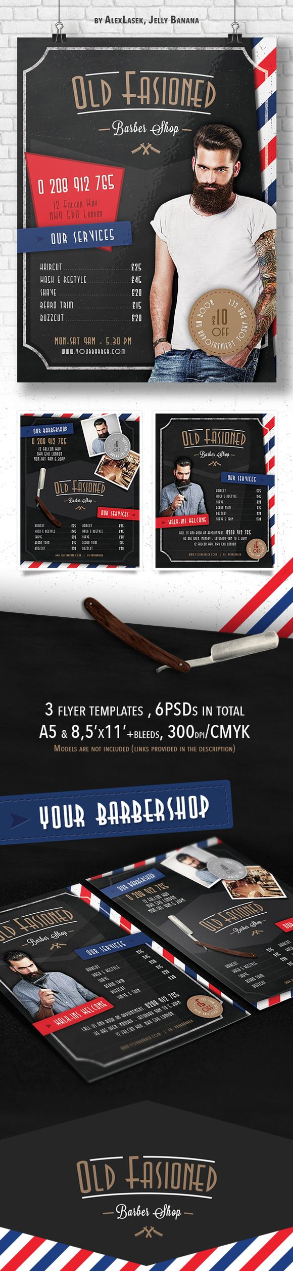 Barber Shop Price List Template Haircut And Shave Retro Barber Sign - 3 barber shop flyer templates hairdresser price listbarber