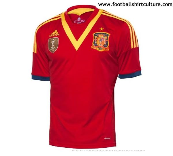 Spain 2013 Confederations Cup Adidas Home Football Shirt // the V is awful
