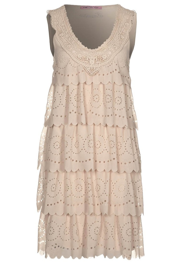 Fornarina Cream Tiered Lace Dress