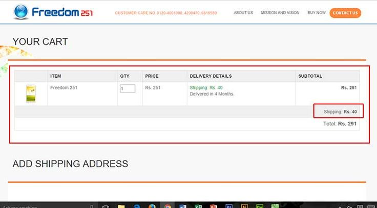 Freedom 251 Quantity Booking with shipping Cost