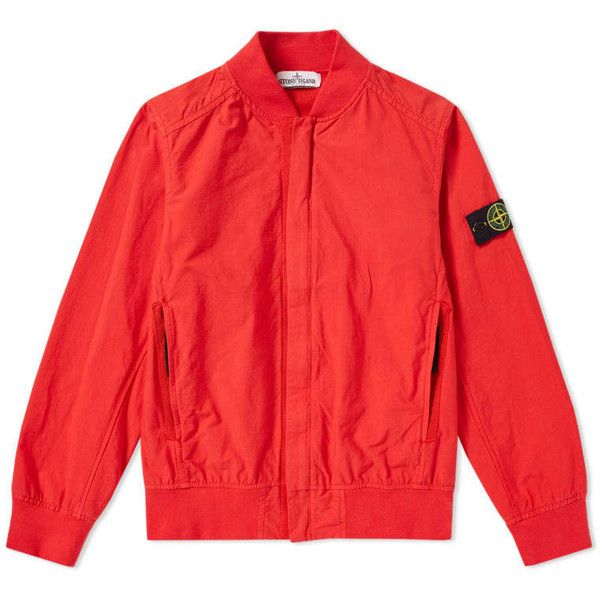 Stone Island Junior Tinto Capo Bomber Jacket (Red) | END. ($305) ❤ liked on Polyvore featuring outerwear, jackets, bomber jackets, stone island jacket, stone island, flight jackets and bomber style jacket