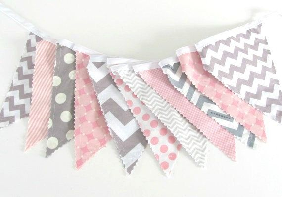 Pink Grey Chevron and Dots Bunting Banner by OvationStudio on Etsy, $30.00