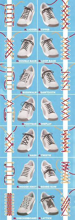 Shoe lacing styles, I better print this out for Katie.