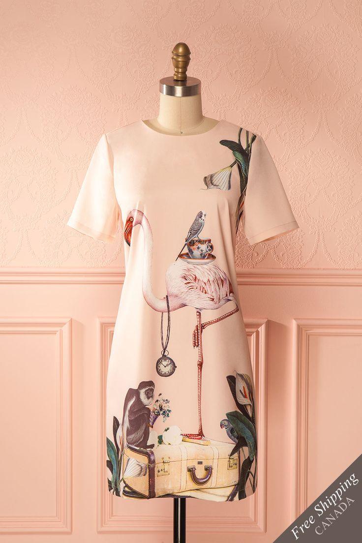 Pastel pink shift dress with tropical print - Robe à coupe ample rose pastel avec imprimé tropical