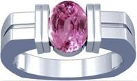 Platinum Oval Cut Pink Sapphire Mens Ring