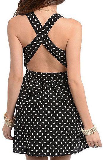Black & White Polka Dot Cutout Dress