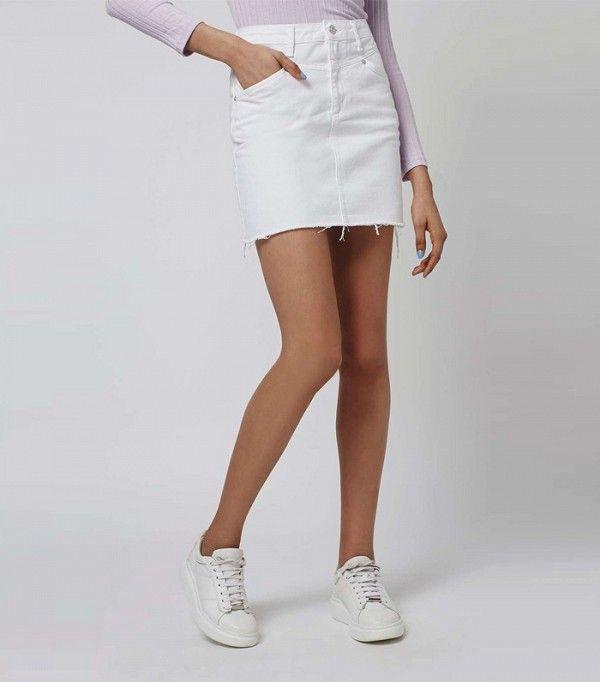 White Denim Jean Skirt - MX Jeans
