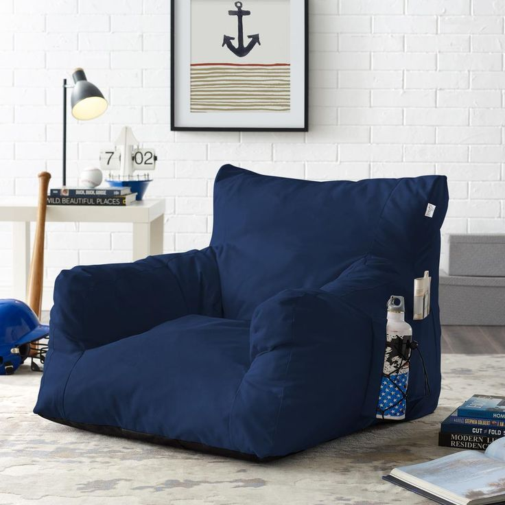 Loungie Comfy Navy Bean Bag Arm Chair Nylon Foam Lounger, Blue