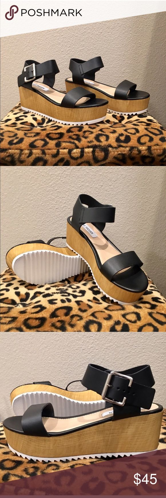 Steve Madden Platform Sandals New without box. Size 7.5. True to size. Wooden platform lowers with sporty white tread (painted wood, not rubber👌🏼) All leather black uppers, silver buckle so you can adjust fit at the ankle. A staple in my wardrobe year round. Steve Madden retail $80.00. Not on Poshmark👏🏼💖 Steve Madden Shoes Platforms